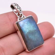 925 Sterling Silver Pendant, Natural Fire Play Labradorite Gemstone Jewelry P235 #Handmade #Pendant
