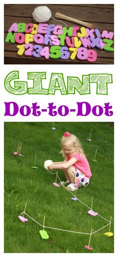 So fun! A Giant Dot-to-Dot in your backyard! Great for fine motor development and alphabet/number sequence!