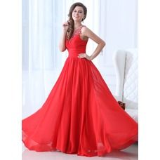 [US$ 164.99] A-Line/Princess Scoop Neck Floor-Length Chiffon Prom Dress With Ruffle Beading (018043928)
