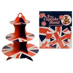 Union Jack Theme 3 Tier Cardboard Cup Cake Stand Image