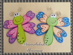 MANUALIDADES   YONAIMY:   LIBELUMARIPOSA S DE FOAMY  O  GOMA EVA          ... Foam Crafts, Preschool Crafts, Diy And Crafts, Crafts For Kids, Arts And Crafts, Paper Crafts, Decoration Creche, Felt Patterns, Felt Fabric