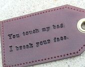 His & Hers - Personalized Leather Luggage Tags - set of two - with quote. $35.00, via Etsy.