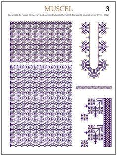 Modele de ii Romanesti din caietul elevei Furcoi Elena, de la Liceul Industrial Sericicol Bucuresti, care a desenat aceste pla... Embroidery Motifs, Hama Beads, Beading Patterns, Pixel Art, Cross Stitch Patterns, Needlework, Diy And Crafts, Traditional, Projects