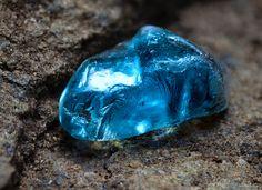 Blue Zircon Crystal Macro