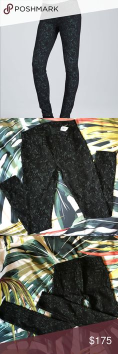 7 For All Mankind lace skinny jeans- green & black Green 7 For All Mankind skinny jeans w black lace overlay, size 27, never worn (NWT). Cover pic from 7 site. 7 For All Mankind Jeans Skinny
