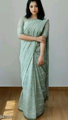 Silk Saree Blouse Designs, Saree Blouse Patterns, Fancy Blouse Designs, New Saree Designs, Trendy Sarees, Stylish Sarees, Simple Sarees, Stylish Dresses, Casual Dresses