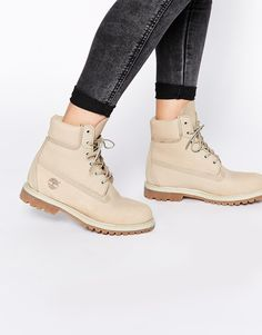"Image 1 of Timberland 6"" Premium Lace Up Off White Flat Boots"