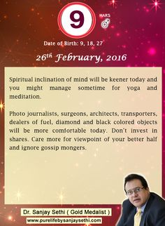 #Numerology predictions for 26th February'16 by Dr.Sanjay Sethi-Gold Medalist and World's No.1 #AstroNumerologist.