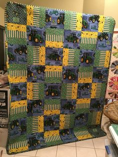 Three years ago my niece asked me to make her little boy a John Deere quilt to fit his new BIG BOY twin bed. Then she wanted a matching golf quilt for Golf Quilt, Tractor Quilt, Tractor Room, Jellyroll Quilts, Easy Quilts, Children's Quilts, Rag Quilt, Panel Quilts, Quilt Blocks