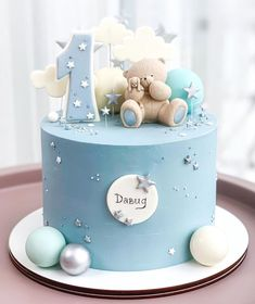 Special Birthday Cakes, Baby Boy 1st Birthday Party, Baby Birthday Cakes, Baby Boy Cakes, Cakes For Boys, Gateau Baby Shower, Baby Shower Cakes, Fondant Cake Designs, Cake Decorating Icing