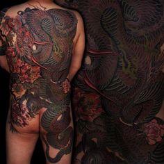 Yakuza dragon tattoo on back
