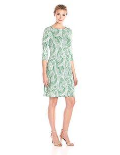 Lark & Ro Women's Dresses 3/4 Sleeve Shift , Green Leaves...