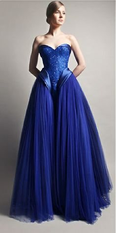 """Gemy Maalouf Fall 2014 LBV ~ Gorgeous rich, bright blue gown with what I like to call a """"waterfallls"""" skirt. Pretty Dresses, Blue Dresses, Prom Dresses, Wedding Dresses, Designer Gowns, Blue Fashion, Beautiful Gowns, Dream Dress, Strapless Dress Formal"""