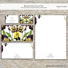 Stationary Set (100 Business Cards, 100 Letter Heads, 100 Compliment Slips) Purple Orchid by LondonCreativeStudio on Etsy, £129.60