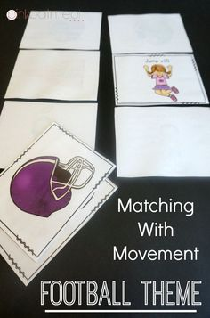 FREEBIE!!! Matching with movement game. The football theme is so fun. Perfect for stations, therapy or at home!