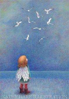 kathy hare illustration Birds have wings❤ Angel Art, Grafik Design, Children's Book Illustration, Book Illustrations, Illustrators, Whimsical, Faith, Fantasy Art, Artist