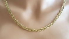 Vintage Link Necklace, Gold Tone Necklace, Ringlet Necklace, Unsigned Necklace by ClassicJewelryFinds on Etsy