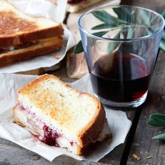 Grilled Ham and Cheese with Strawberry-Red-Wine Jam | The secret to Chris Kronner's delectable sandwiches is the jam spiked with Pinot Noir.  #howisummer Grilled Ham And Cheese, Grilled Cheese Recipes, Pinot Noir, Quesadillas, Jam Recipes, Wine Recipes, Sandwich Recipes, Salad Recipes, Gourmet