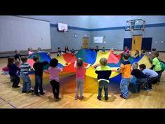 Parachute Games: Mushroom, Popcorn, etc. Kindergarten Games, Preschool Games, Physical Education Games, Music Education, Parachute Games For Kids, Youth Activities, Activity Games, Summer Reading Program, Outdoor Classroom