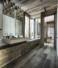 Exquisite Modern Rustic Residence; Glass and Wood Combination : Great Modern Rustic Residence Old Rustic Wooden Floor Wall And Ceiling Desig...