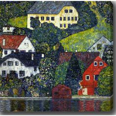 YGC Gustav Klimt 'Houses At Unterach On The Attersee II' Oil on Art