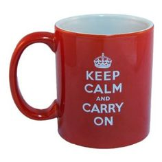 Keep Calm And Carry On Coffee Mug,(Red)