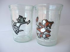 cartoon jelly jars..was just talking about these the other night..re-used them for milk & juice