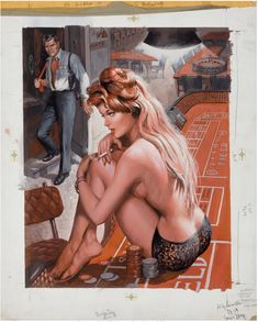 SAMSON POLLEN - Woman in panties w/cigarette sitting on roulette table & standing man - source (fineart.ha) says this was the cover to June 1965 Stag Roulette Table, Magazine Art, Pin Up, June, Wonder Woman, Superhero, Cover, Wonder Women, Journal Art