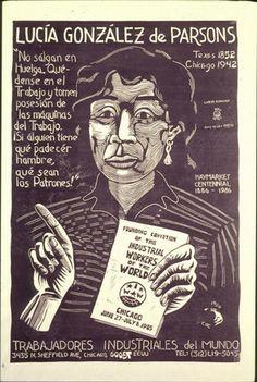 MUJERES QUE HACEN LA HISTORIA - BREVES BIOGRAFIAS: Siglo XIX - Lucy Parsons art by Carlos Cortez