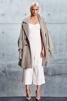 CAMERON JUMPSUIT - WHITE, RILEY COAT - GHOST GREY