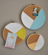DIY corkboard messaging hoops.