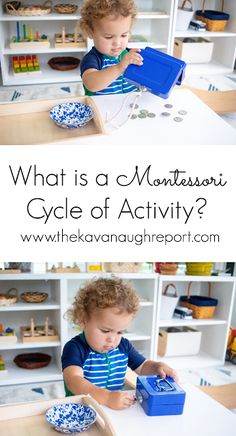 A look at a Montessori cycle of activity - what it looks like and. Informations About A Cycle of A Montessori Playroom, Montessori Preschool, Preschool Curriculum, Montessori Materials, Preschool Activities, Montessori Theory, What Is Montessori, Dinosaur Activities, Teaching Kids