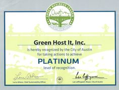 City of #Austin Green Business Leader -  Green Host It