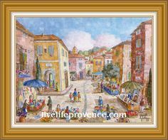 Decorate and Enjoy your Home with Provencal Fine artwork with Original Vilage (Jour  	de Marche a Valensole) by renowned French Artist Philippe GIRAUDO.  	www.livelifeprovence.com #llprovence Fine Artwork, Painting, Artwork, French Artists, Original Artwork