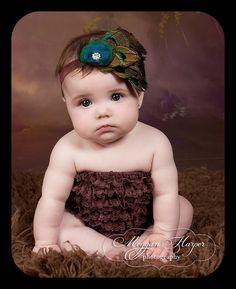 Baby Girl Headband - Peacock Headband - session prop- Infant Headband - Toddler headband - elastic headband-Peacock. $22.00, via Etsy.