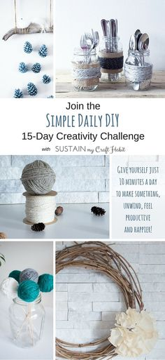 Take the time to unleash your natural creativity with SustainMyCraftHabit's FREE #SimpleDailyDIY 15-day creativity challenge. Click through for all the details!