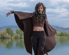 Crop Top Hoodie with Cape Sleeves ~ Elven Forest, Festival Clothing, Gypsy Clothing, Bohemian Dreamer, Love
