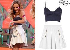 Jade Thirlwall appeared with her bandmates on The Xtra Factor in December. She wore the Topshop Wrap Front Zip Bralet ($44.00) with a Three Floor Whitely Skirt (£93.00). You can find a similar skirt for $26.00 at Boohoo.