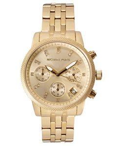 Imagen 1 de Reloj con cronómetro dorado y cristal de Michael Kors