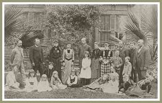 A family reunion of the Johnstons, DeWitts, Lumbards and Swigarts, in front of Jacob Swigart's home. This reunion took place in 1881. The man in the top row, far right, is D.D. Johnston, for whom a school in Norwalk, California is named