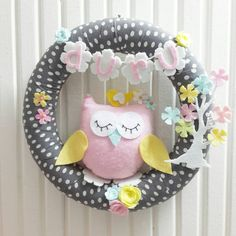 Customized Name, Cute Pink Big Owl and Flower Tree, Pastel Colors, For Baby Girl or Boy  Door Wreath, Gray-White Polka Dots
