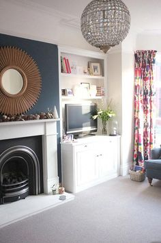 modern victorian living room : bluebellgray curtains : stiffkey blue Source by vrhmills I do not take credit for the images in this post. Living Tv, New Living Room, Home And Living, Living Room Decor, Blue Feature Wall Living Room, Living Area, Dark Blue Living Room, Small Living, Home Theaters
