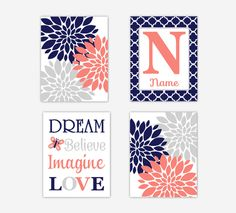 Baby Girl Nursery Art Coral Navy Blue Flower Burst Dahlia Mums Dream Believe Imagine Love  Personalized Name Art Baby Nursery Decor SET OF 4 UNFRAMED PRINTS