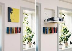 This is just an amazingly clever solution for hiding a front projector system. We have our DLP HD project ceiling mounted, but now we're envious of how wonderfully hidden a fold down solution could be instead. And how about the cinephile artwork to match! [via Hus & Hem]