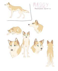 Character Sheet - Maddy by nooby-banana on DeviantArt Cute Wolf Drawings, Cartoon Drawings Of Animals, Anime Animals, Animal Sketches, Draw Animals, Wolf Character, Character Sheet, Anime Wolf Drawing, Dog Anatomy