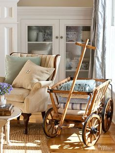Place warm throws within easy reach of seating places by piling them into a quaint wooden wagon.