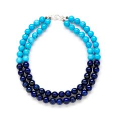 Silver Navy Lapis Lazuli Necklace and Robin's Egg Blue