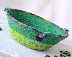 Spring Greenery Bowl, Handmade Batik Basket, Decorative Basket, Lovely Gift Basket, Green Catchall Basket, Yarn Bowl, Ring Holder by WexfordTreasures on Etsy