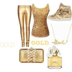 GOLD EVERYTHING by sraley on Polyvore featuring polyvore fashion style Yves Saint Laurent MICHAEL Michael Kors Zagliani Minnie Grace Marc Jacobs