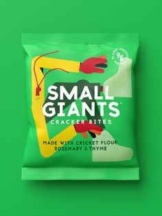 Small Giants Brand / Packaging Design / Insect Snacks / Crickets / Illustration / Sustainable / Taboo / Crackers Brand Packaging, Packaging Design, Branding Design, Cricket Flour, Branding Agency, Design Agency, Crickets, Snacks, Illustration